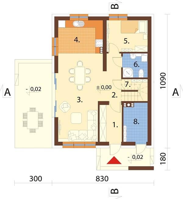 Projekt domu DM-6664 - rzut