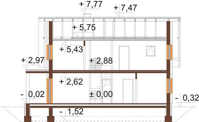 Projekt domu L-6664 - przekrój