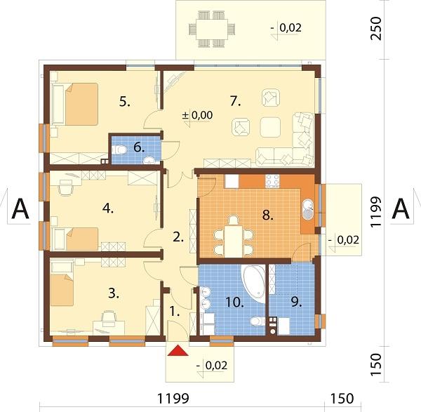Projekt domu DM-6643 - rzut
