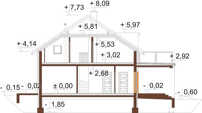 Projekt domu DM-6673 - przekrój