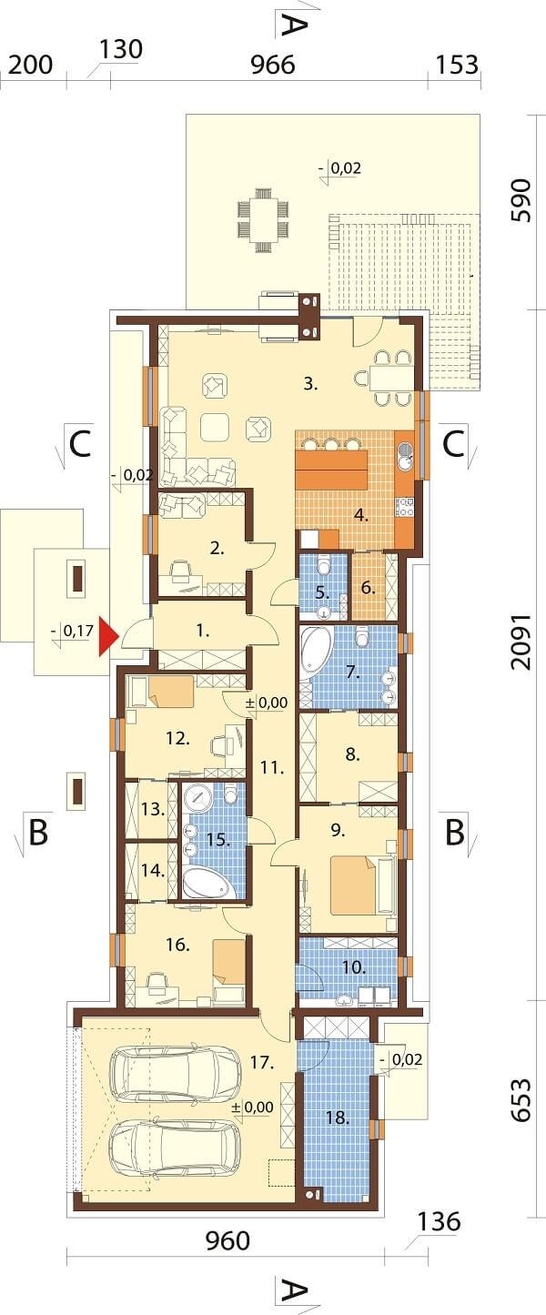 Projekt domu L-6688 - rzut
