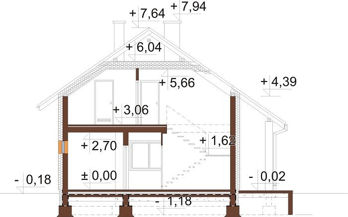 Projekt domu DM-6681 - przekrój