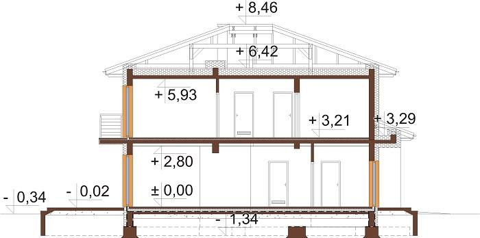 Projekt domu DM-6679 - przekrój