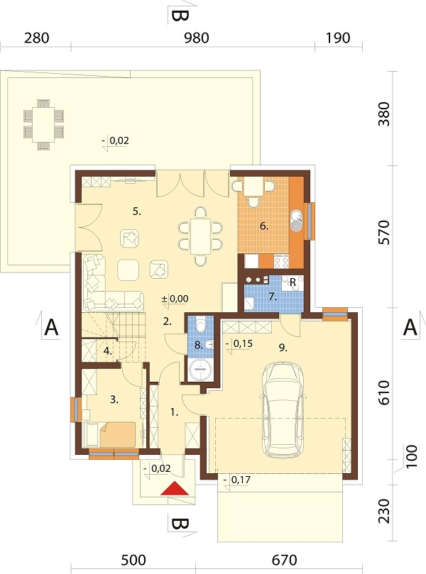 Projekt domu DM-6679 - rzut