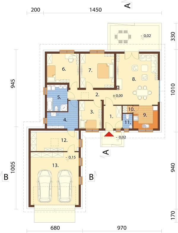 Projekt domu DM-6682 - rzut