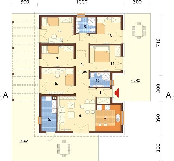 Projekt domu DM-6694 - rzut