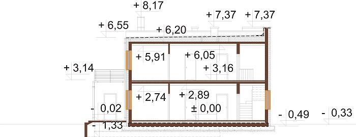 Projekt domu L-6680 - przekrój