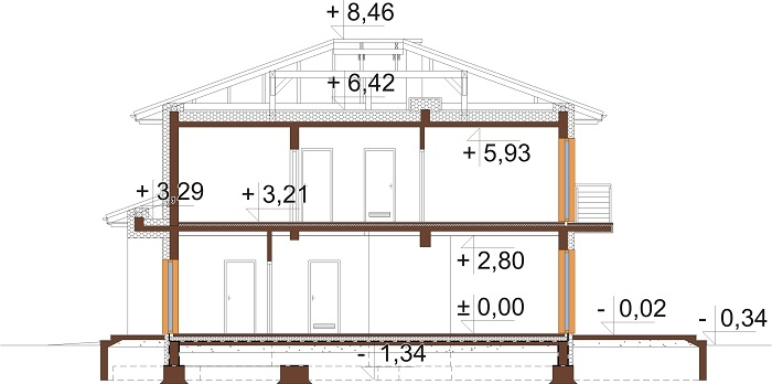 Projekt domu L-6679 - przekrój