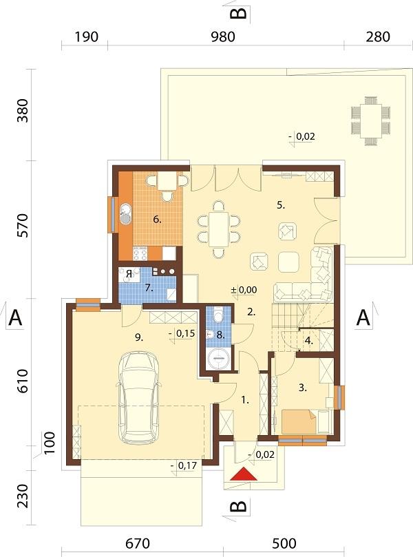 Projekt domu L-6679 - rzut