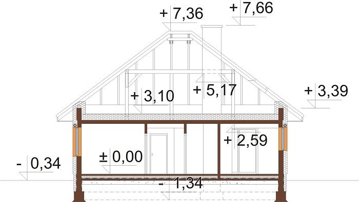 Projekt domu DM-6635 - przekrój