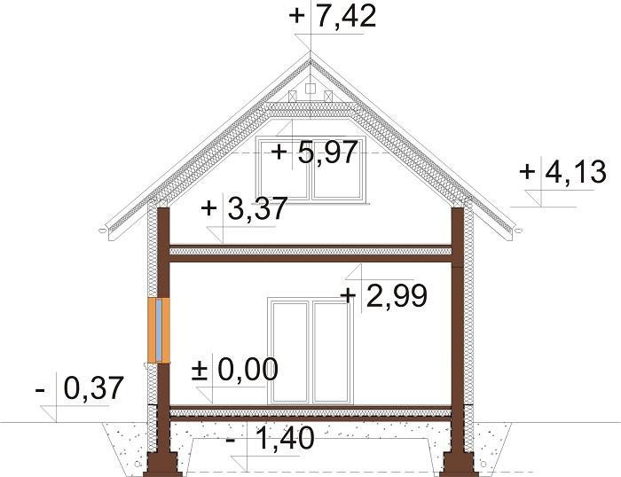 Projekt domu DM-6689 - przekrój