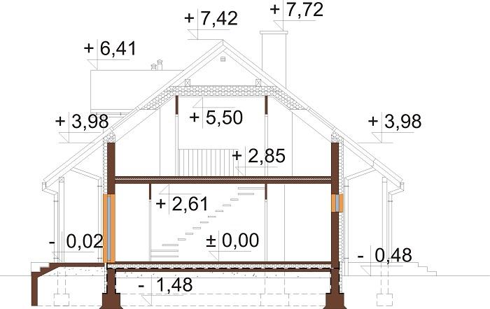 Projekt domu DM-6684 - przekrój