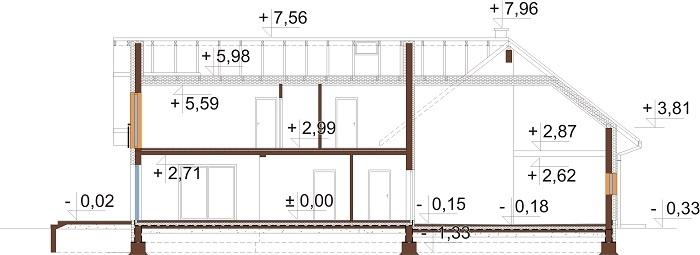 Projekt domu DM-6696 - przekrój