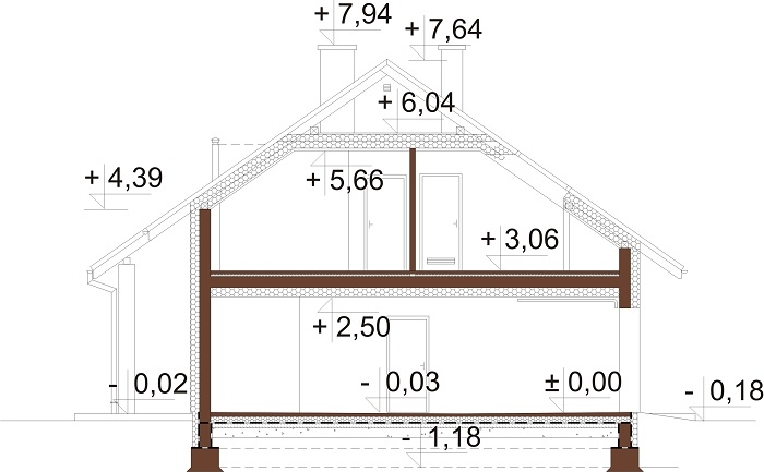 Projekt domu L-6681 - przekrój