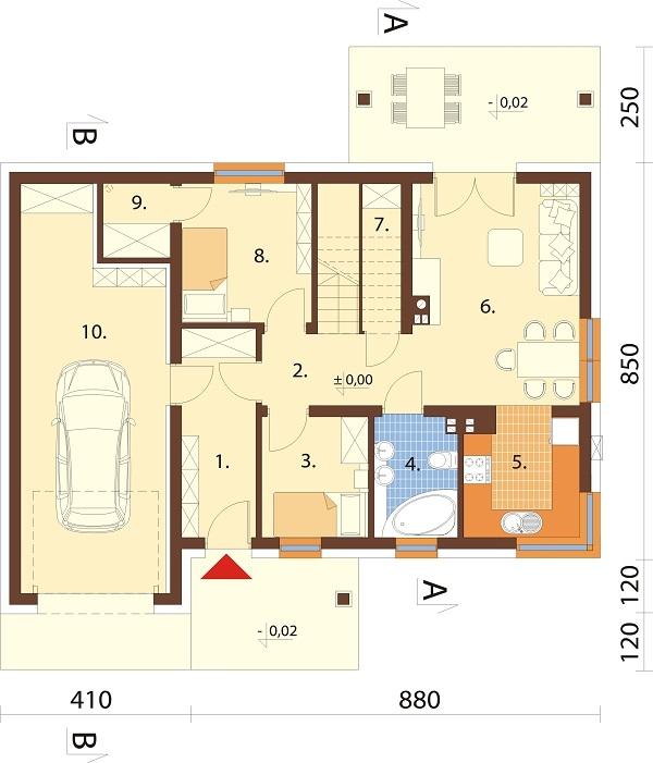 Projekt domu L-6681 - rzut