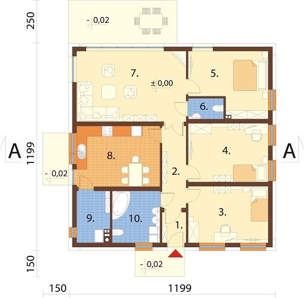 Projekt domu L-6643 - rzut