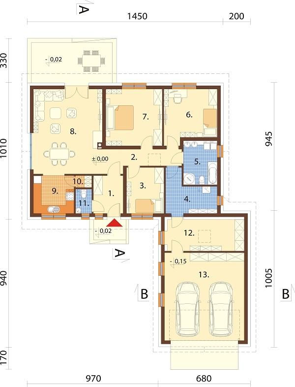 Projekt domu L-6682 - rzut