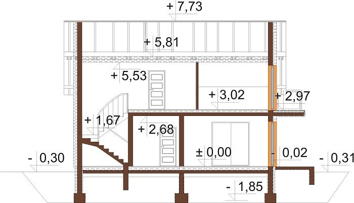 Projekt domu L-6673 - przekrój