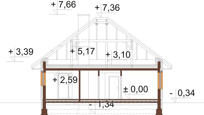 Projekt domu L-6635 - przekrój
