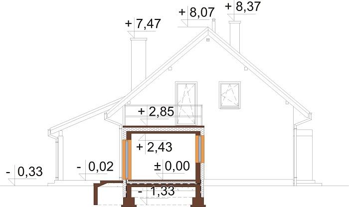 Projekt domu L-6690 - przekrój