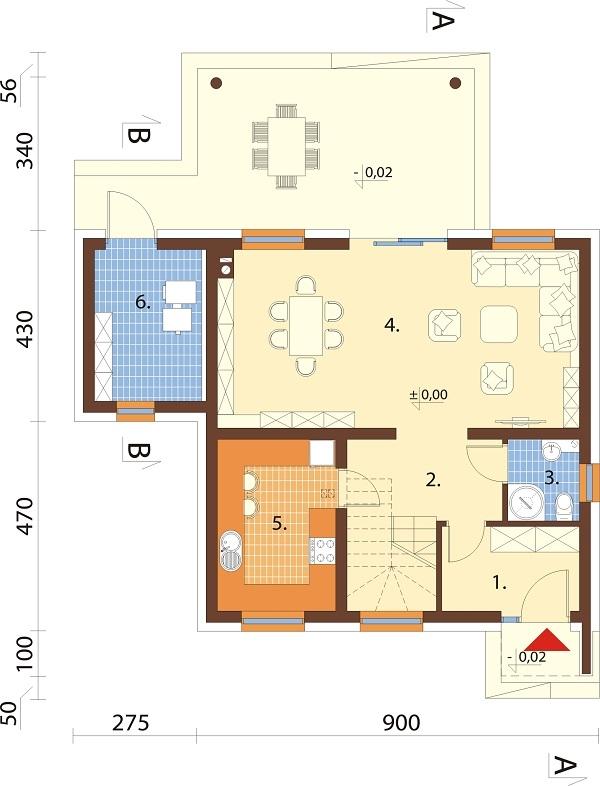 Projekt domu L-6690 - rzut