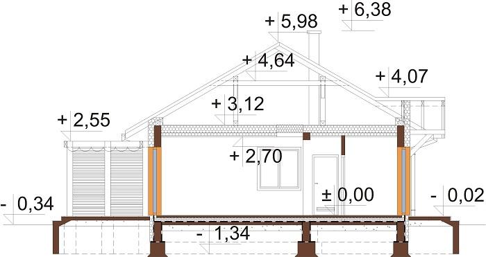Projekt domu L-6698 - przekrój