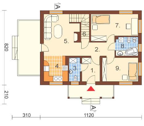 Projekt domu DM-6255 - rzut