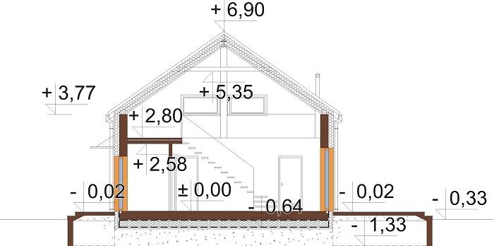 Projekt domu L-6562 B - przekrój