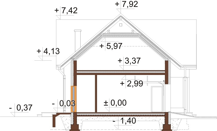 Projekt domu L-6689 - przekrój