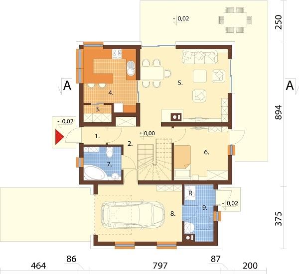 Projekt domu L-6686 - rzut