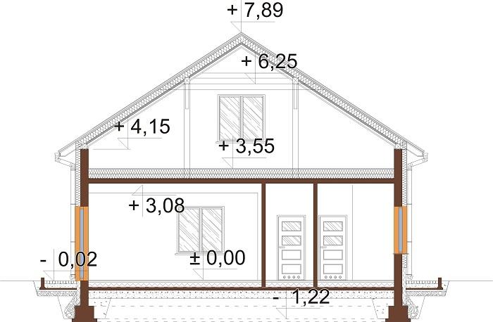 Projekt domu L-6646 - przekrój