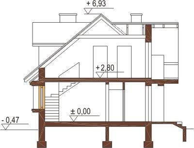 Projekt domu DM-6256 - przekrój