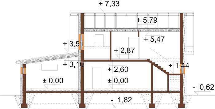 Projekt domu DM-6697 - przekrój
