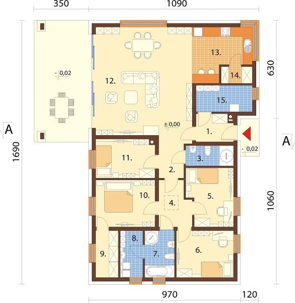 Projekt domu DM-6701 - rzut