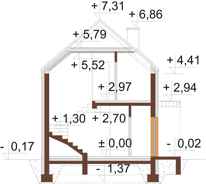 Projekt domu DM-6707 - przekrój