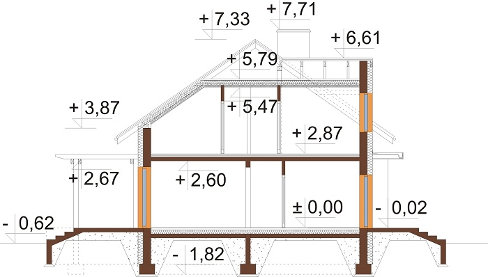 Projekt domu L-6697 - przekrój