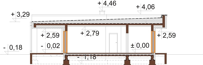 Projekt domu L-6701 - przekrój