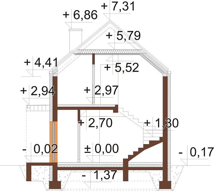Projekt domu L-6707 - przekrój