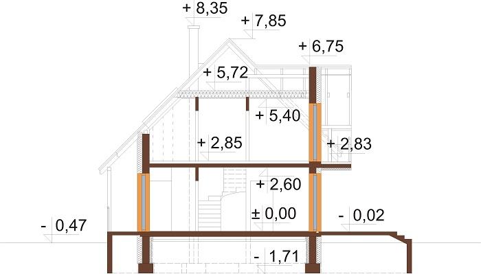 Projekt domu L-6190 D - przekrój