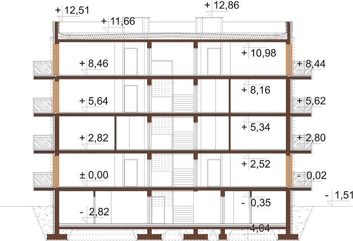 Projekt domu L-6710 - przekrój