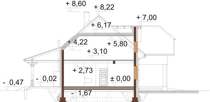 Projekt domu DM-6687 - przekrój
