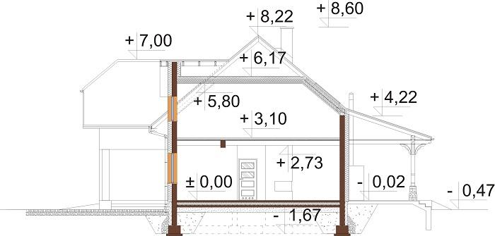 Projekt domu L-6687 - przekrój