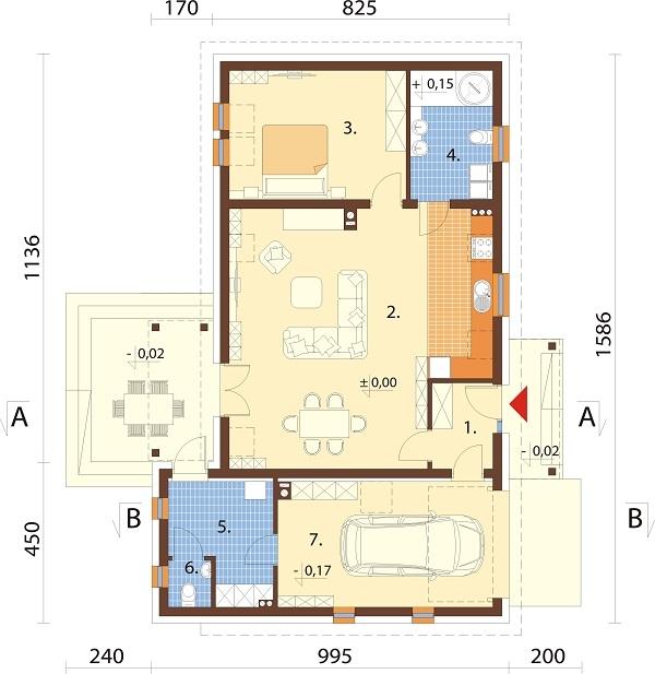 Projekt domu DM-6703 - rzut