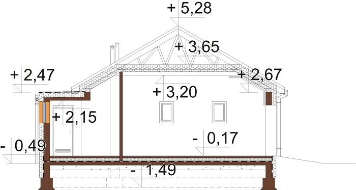 Projekt domu L-6703 - przekrój