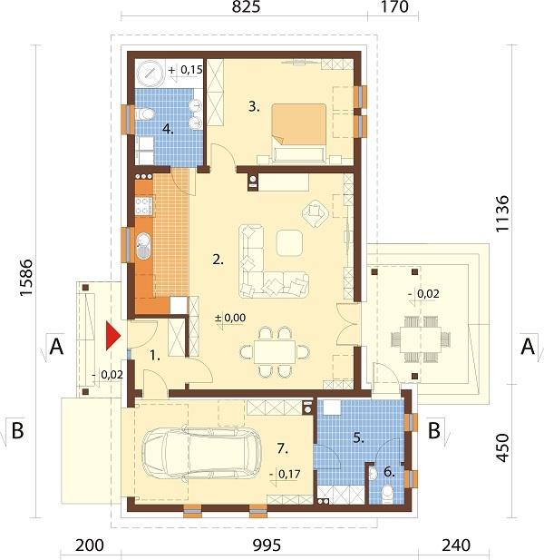 Projekt domu L-6703 - rzut