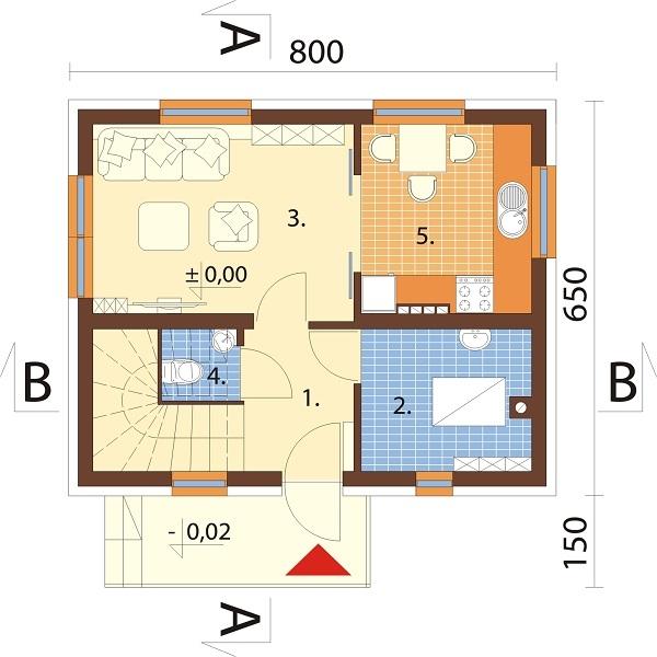 Projekt domu L-5582 C - rzut