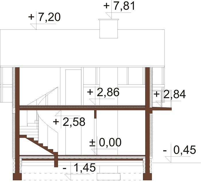 Projekt domu L-5582 C - przekrój