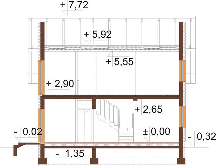 Projekt domu DM-6704 - przekrój