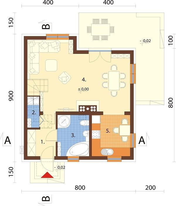Projekt domu DM-6704 - rzut
