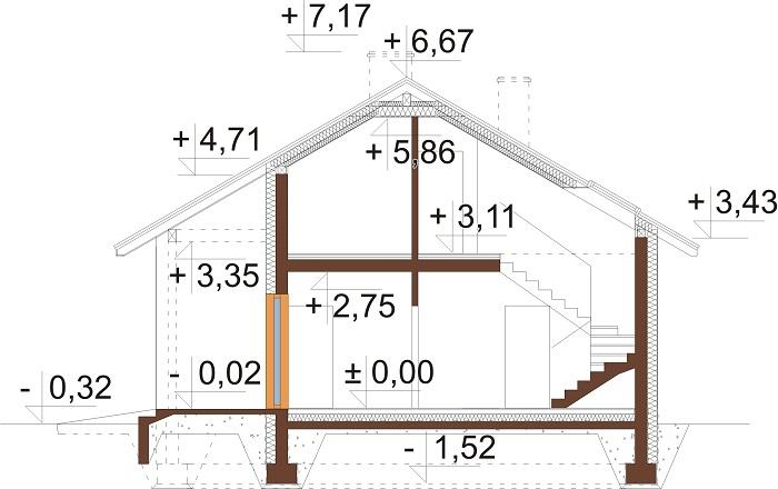 Projekt domu DM-6693 - przekrój